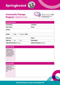 Springboard 2.0 – Community Therapy Program: Referral Form