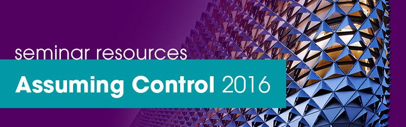 Seminar Resources Assuming Control 2016
